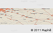 """Shaded Relief Panoramic Map of the area around 47°16'15""""N,19°37'30""""E"""