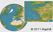 Satellite Location Map of Nantes