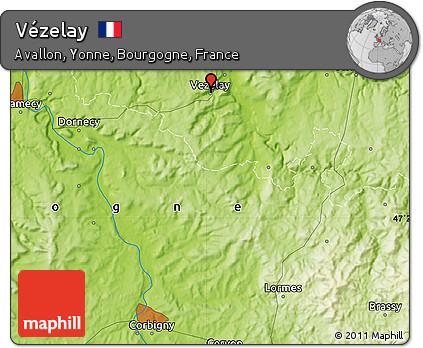 Vezelay France Map.Free Physical Map Of Vezelay