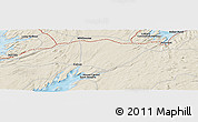 """Shaded Relief Panoramic Map of the area around 47°16'15""""N,53°28'30""""W"""