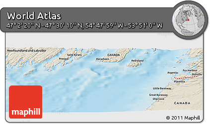 """Shaded Relief Panoramic Map of the Area around 47°16'15""""N,54°19'30""""W"""