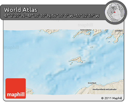 """Shaded Relief 3D Map of the Area around 47°16'15""""N,56°1'29""""W"""
