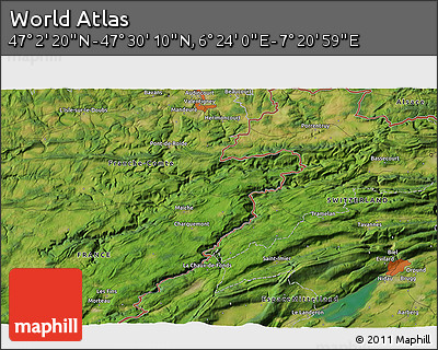 """Satellite 3D Map of the Area around 47°16'15""""N,6°52'30""""E"""