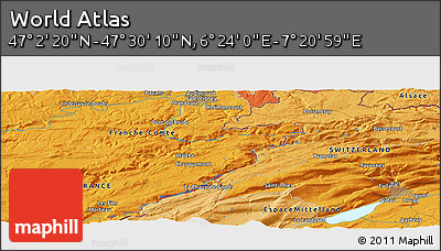 """Political Panoramic Map of the Area around 47°16'15""""N,6°52'30""""E"""