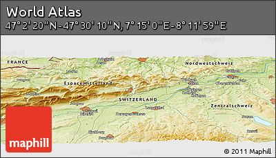 """Physical Panoramic Map of the Area around 47°16'15""""N,7°43'29""""E"""
