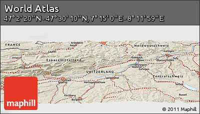 """Shaded Relief Panoramic Map of the Area around 47°16'15""""N,7°43'29""""E"""