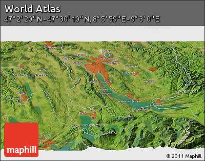 """Satellite 3D Map of the Area around 47°16'15""""N,8°34'29""""E"""