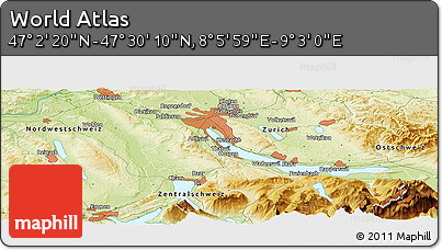 """Physical Panoramic Map of the Area around 47°16'15""""N,8°34'29""""E"""