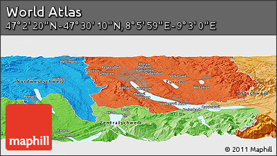 """Political Panoramic Map of the Area around 47°16'15""""N,8°34'29""""E"""