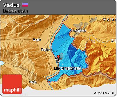 Political 3D Map of Vaduz