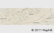 """Shaded Relief Panoramic Map of the area around 47°41'6""""N,108°1'30""""E"""