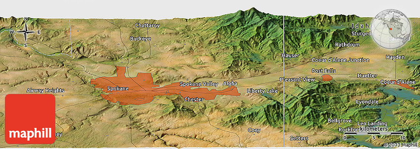 Satellite Panoramic Map of Spokane Valley