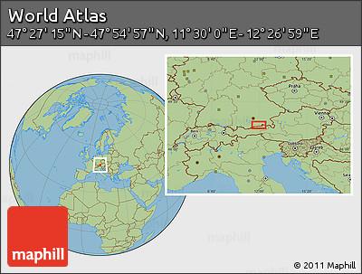 "Savanna Style Location Map of the Area around 47°41'6""N,11°58'29""E"