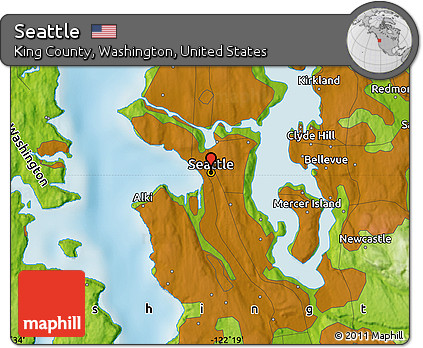 Free Physical Map of Seattle