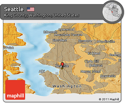 Seattle Political Map.Free Political Panoramic Map Of Seattle