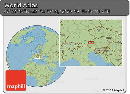 "Savanna Style Location Map of the Area around 47°41'6""N,12°49'29""E"