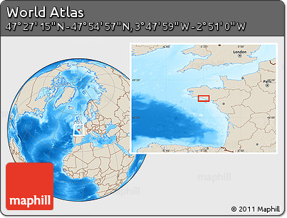 """Shaded Relief Location Map of the Area around 47°41'6""""N,3°19'30""""W"""