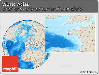 """Shaded Relief Location Map of the Area around 47°41'6""""N,4°10'30""""W"""