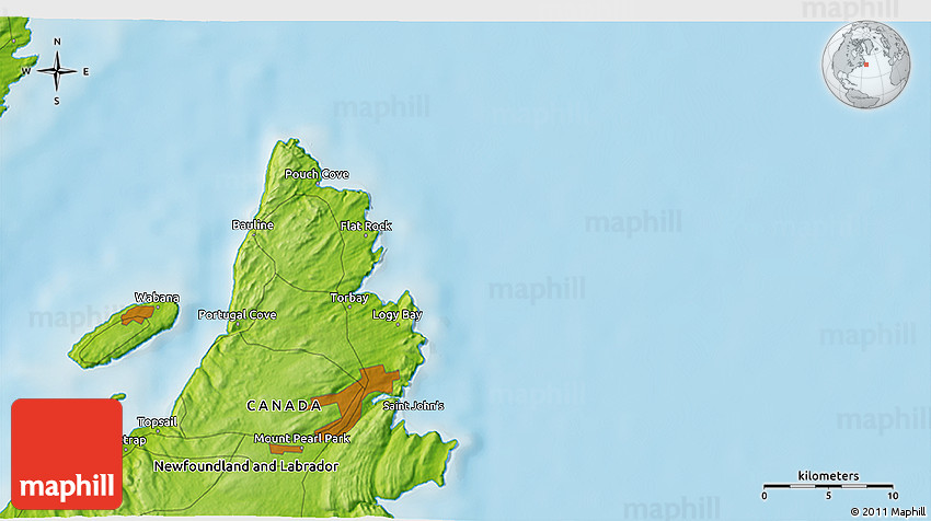Physical D Map Of Portugal Cove - Portugal cove nl map