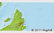 """Physical 3D Map of the area around 47°41'6""""N,52°37'30""""W"""