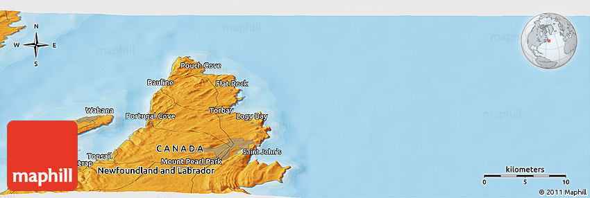 Political Panoramic Map Of Portugal Cove - Portugal cove nl map