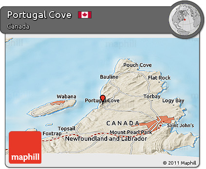 Free Shaded Relief Panoramic Map Of Portugal Cove - Portugal cove nl map
