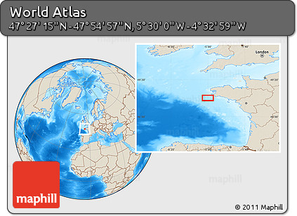 """Shaded Relief Location Map of the Area around 47°41'6""""N,5°1'30""""W"""