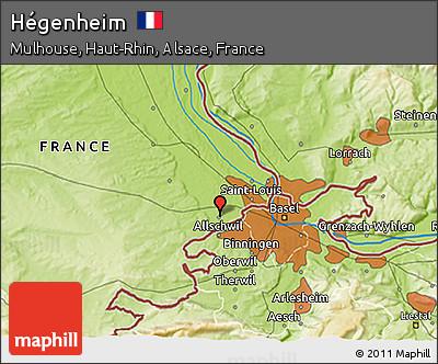 Physical 3D Map of Hégenheim