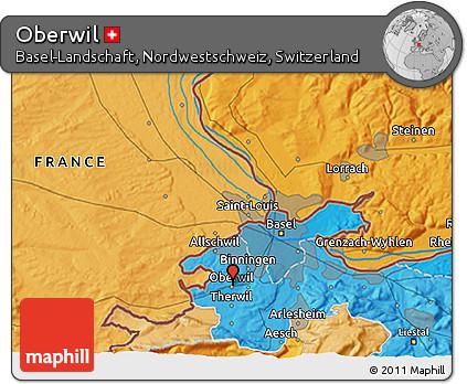Political 3D Map of Oberwil