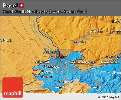 Political 3D Map of Basel
