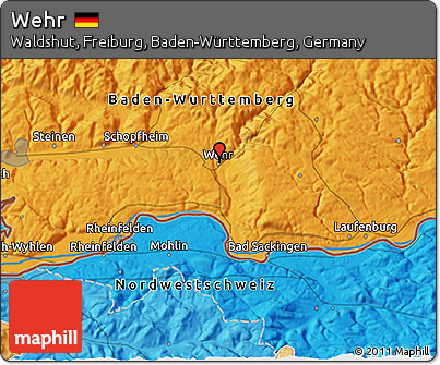 Political 3D Map of Wehr