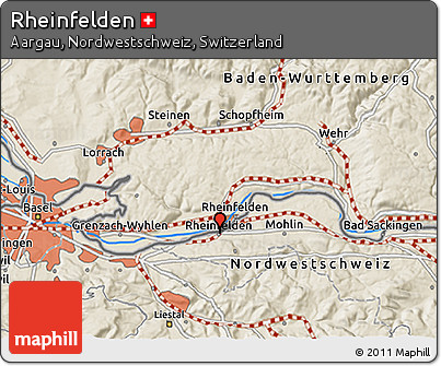 Shaded Relief 3D Map of Rheinfelden