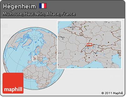 Gray Location Map of Hégenheim