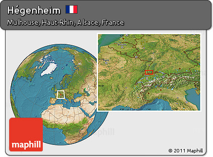 Satellite Location Map of Hégenheim