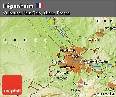 Physical Map of Hégenheim