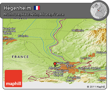 Physical Panoramic Map of Hégenheim