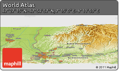 """Physical Panoramic Map of the Area around 47°41'6""""N,7°43'29""""E"""