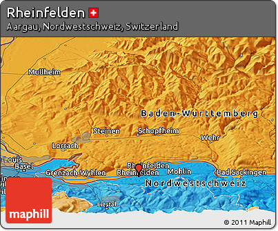 Political Panoramic Map of Rheinfelden
