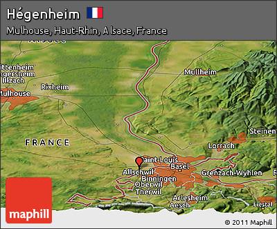 Satellite Panoramic Map of Hégenheim
