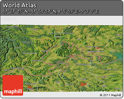 """Satellite 3D Map of the Area around 47°41'6""""N,8°34'29""""E"""