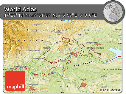 """Physical Map of the Area around 47°41'6""""N,8°34'29""""E"""
