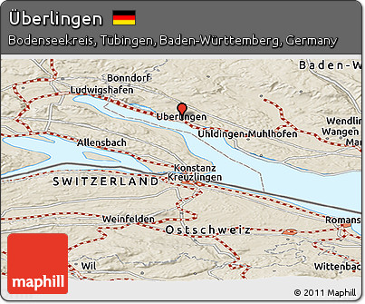 Map Of Uberlingen Germany.Free Shaded Relief Panoramic Map Of Uberlingen