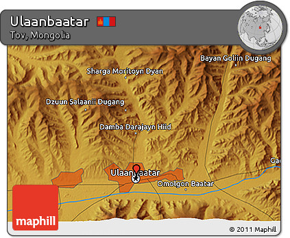 Free Physical 3D Map of Ulaanbaatar
