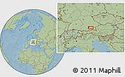 Savanna Style Location Map of Munich, hill shading