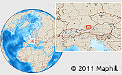 Shaded Relief Location Map of Munich
