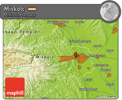 Free Physical 3D Map of Miskolc