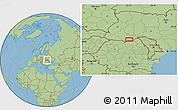 "Savanna Style Location Map of the area around 48°5'50""N,25°34'30""E"