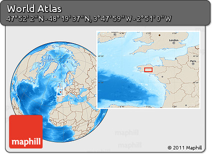 """Shaded Relief Location Map of the Area around 48°5'50""""N,3°19'30""""W"""
