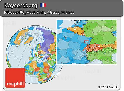 Map Of Kaysersberg France.Free Political Location Map Of Kaysersberg