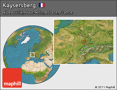 Map Of Kaysersberg France.Free Satellite Location Map Of Kaysersberg